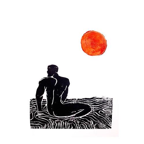 'Day & Night' Lino Print