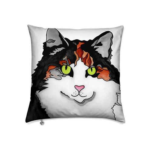 Stole My Heart Calico Cat Velvet Pillow