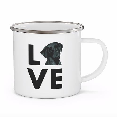 Stole My Heart Black Lab Personalized Enamel Mug