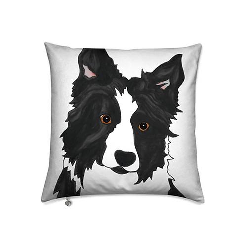 Stole My Heart Border Collie Velvet Pillow