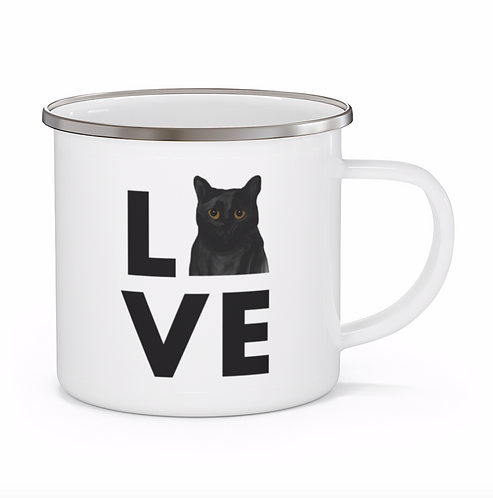 Stole My Heart Black Cat Personalized Enamel Mug