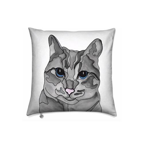 Stole My Heart Gray Tabby Cat Velvet Pillow