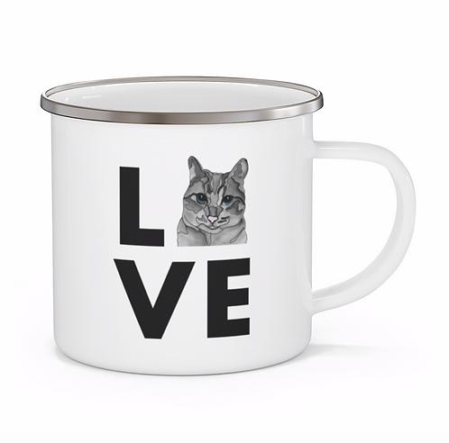 Stole My Heart Grey Tabby Cat Personalized Enamel Mug
