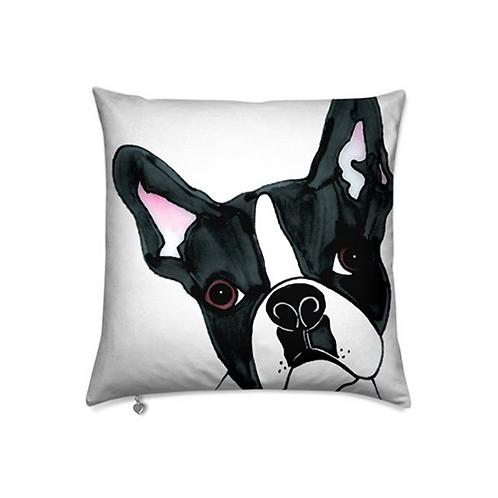 Stole My Heart Boston Terrier Velvet Pillow