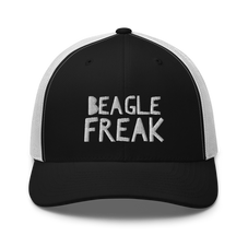 black and white beagle trucker hat.png