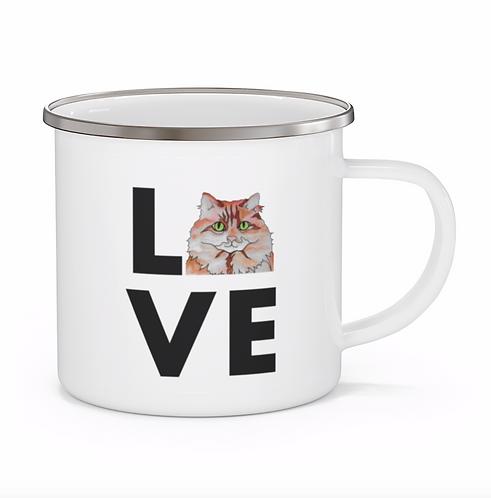 Stole My Heart Orange and White Cat Personalized Enamel Mug