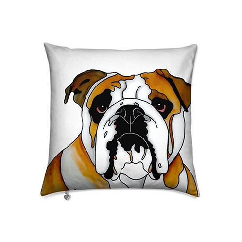 Stole My Heart Bulldog Velvet Pillow