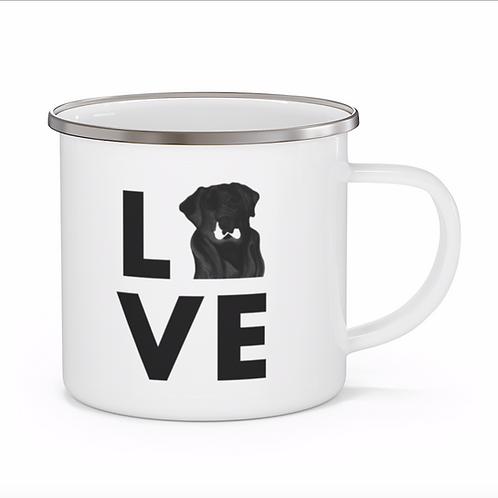 Stole My Heart Black Lab Mutt 4 Personalized Enamel Mug