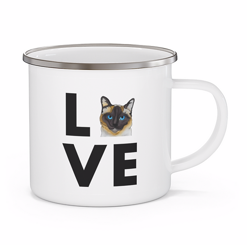Stole My Heart Siamese Cat Personalized Enamel Mug
