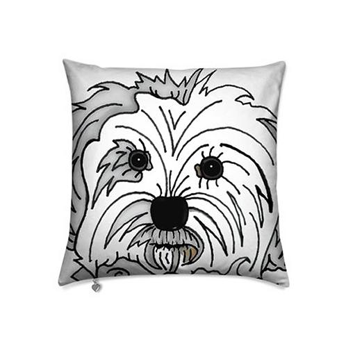 Stole My Heart Maltese Velvet Pillow
