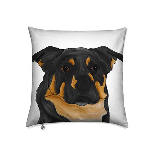 Stole My Heart Black & Brown Mutt Velvet Pillow