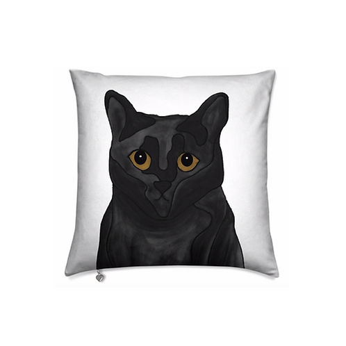 Stole My Heart Black Cat Velvet Pillow