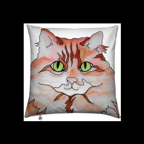 Stole My Heart Orange & White Cat Velvet Pillow
