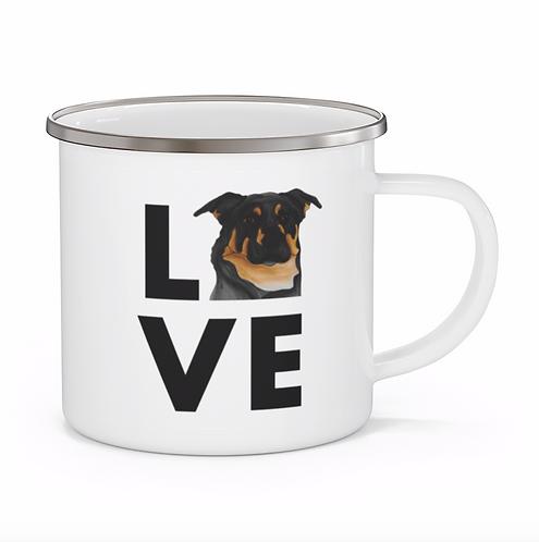 Stole My Heart Black & Brown Mutt 7 Personalized Enamel Mug