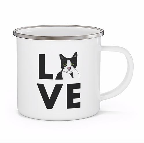 Stole My Heart Tuxedo Cat Personalized Enamel Mug