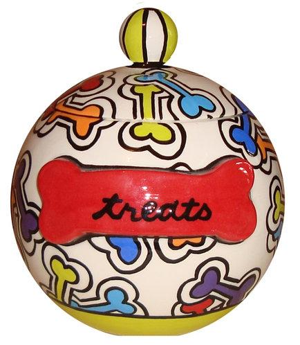 Boney Macaroni Ceramic Dog Treat Jar