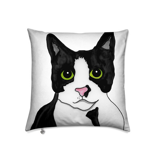 Stole My Heart Tuxedo Cat Velvet Pillow