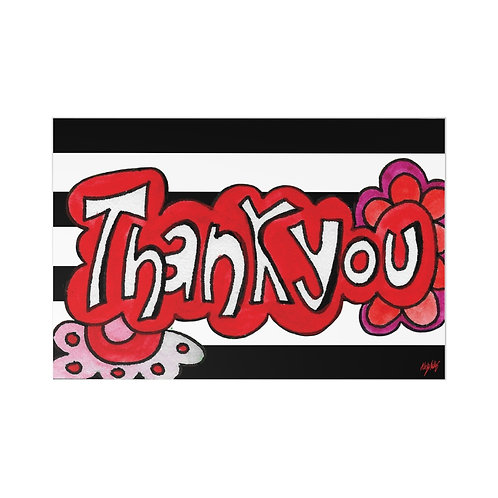 A Simple Red & Striped Thank You Flat Card (7pcs)