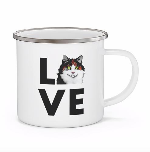 Stole My Heart Calico Cat Personalized Enamel Mug