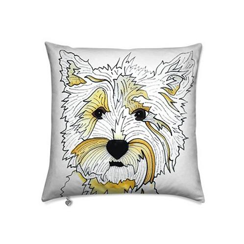 Stole My Heart Highland Terrier Velvet Pillow