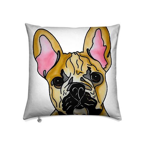 Stole My Heart French Bulldog Velvet Pillow