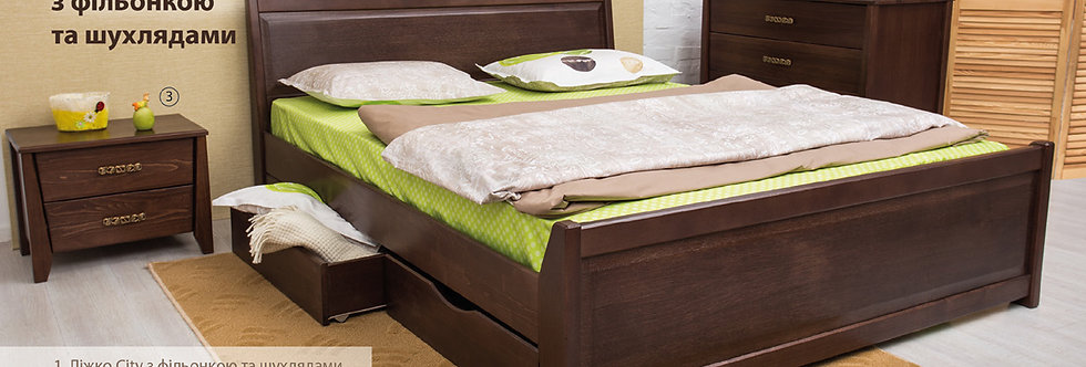 Кровать CITY с филенкой и ящиками - ОЛИМП