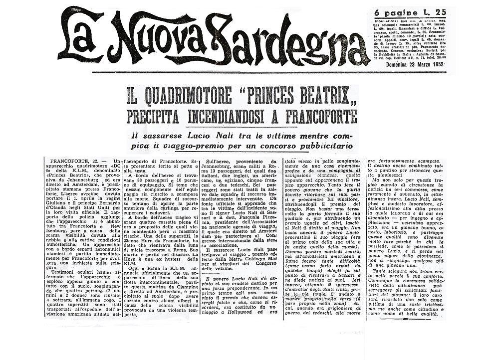 Articolo La Nuova Sardegna 1952 Lucio Nali