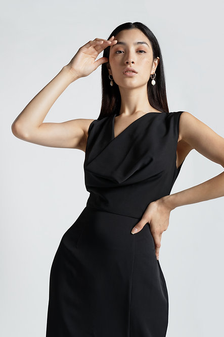 DRAPED NECKLINE LBD