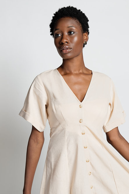 MID-LENGTH BUTTON-DOWN DRESS