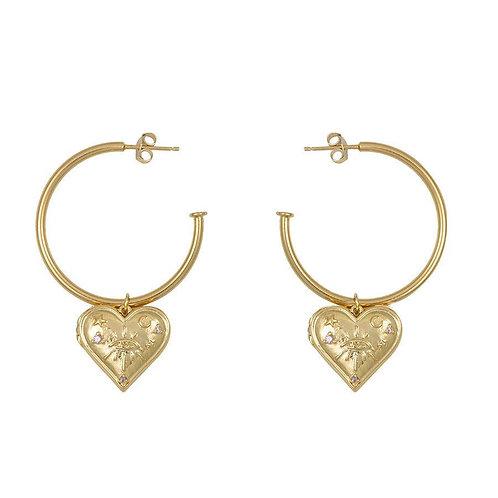 HARLOW GOLD LOCKET HOOP EARRINGS