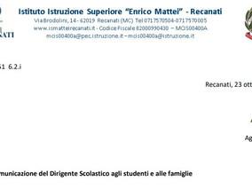 Comunicazione del DS a studenti e famiglie