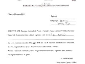 """XXII Rassegna Nazionale di Poesia e Narrativa """"Anna Malfaiera"""" Città di Fabriano 2019"""