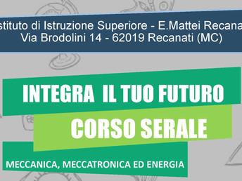 Riparte il 15 settembre dalla Classe Terza, il Corso Serale Meccanica, Meccatronica ed Energia.
