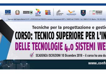 CORSO IFTS: TECNICO SUPERIORE PER L'INTEGRAZIONE DELLE TECNOLOGIE 4.0, SISTEMI WEB E DIGITALI
