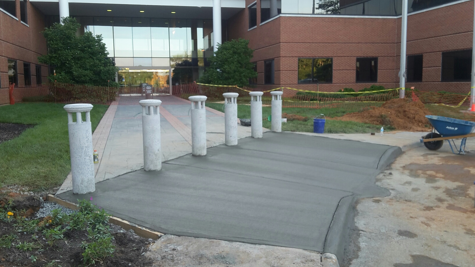 Bollards Installed, Concrete Poured
