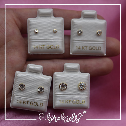 Oro 14K Amarillo Bisel Circulo