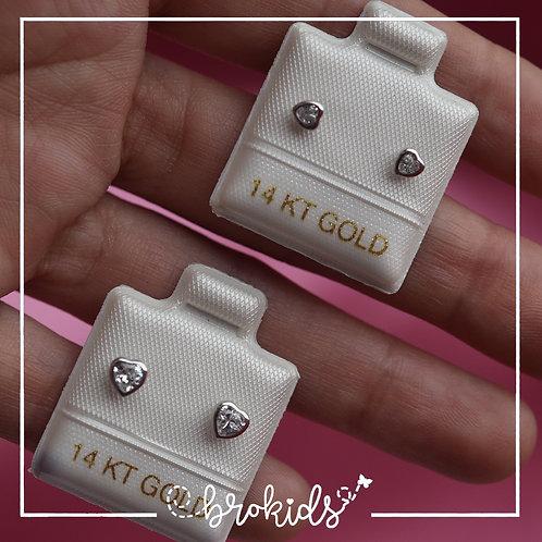 Oro 14K Blanco Bisel Corazón