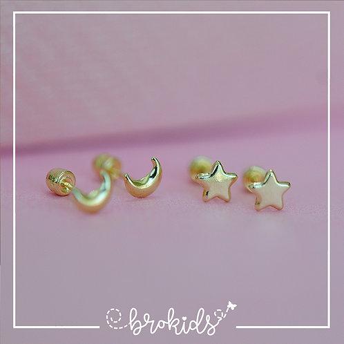 Oro 10K Moon or Stars