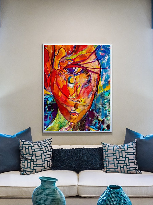 Cyclops art print based on  colourful acrylic painting of spiritual artwork and esoteric themes. Multidimensional beings art