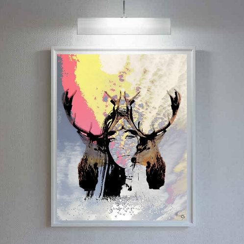 Female art print and animal digital design. Design ideas for bedroom and living room art. Animal art