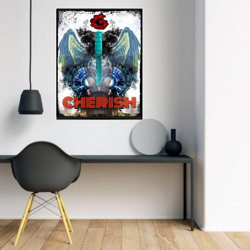 blue, erotic, dagger, female, art, passionate image for interior design. Modern art for living room and office. Poster art.