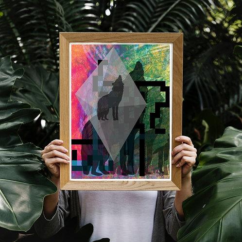 Wolf art print. Animal image geometry poster. Graphic art poster. Interior design colourful homeware
