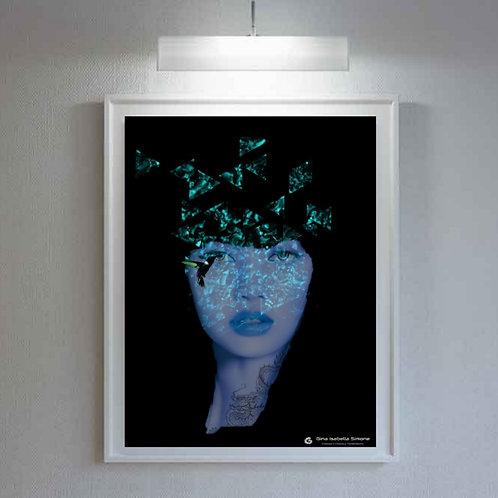dragon princess image in blue and black. Occult and mystica image. Spiritual artwork. Female face modern art print interior