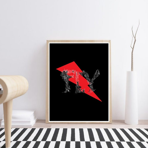 Fly lightning bolt image and word for abstract art print. Modern art for interior design. Living room design ideas. Red