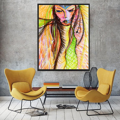 spirit of a woman art print of a pencil sketch in colour for interior design and homeware and for poster art. Esoteric art