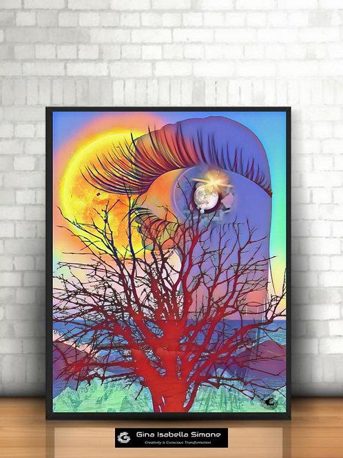 Inner Mind artwork. Pink and blue artwork for interior design. Modern art prints.