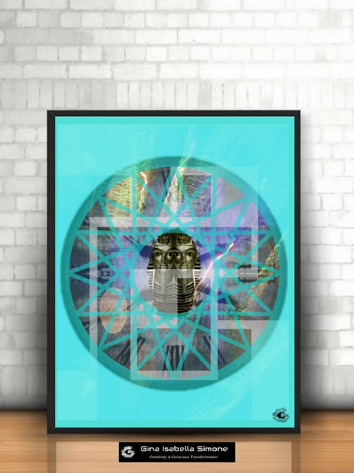 Egyptian figures and esoteric artwork. Turquoise art for interior design. Living room design ideas. Spiritual artwork prints
