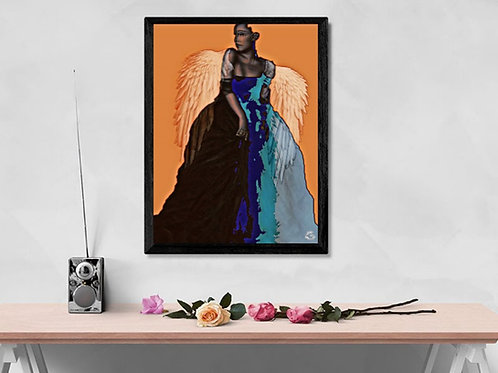 female form art print. Orange and black. Angel wings art print. Modern graphic art design. Homeware and modern art