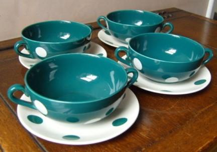 Polka Dot Green Soup Bowls