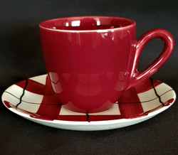 Habitant Red Cup & Saucer